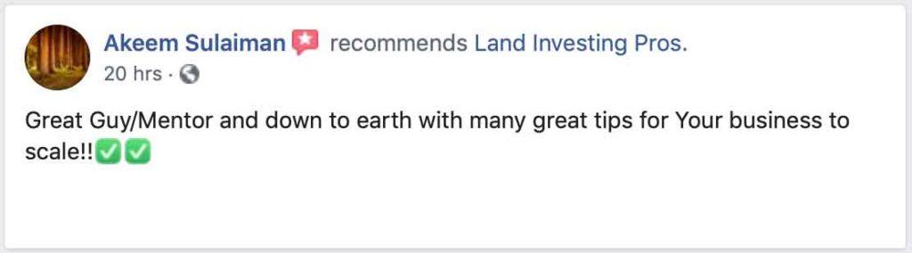 Akeem Sulaiman's Facebook review