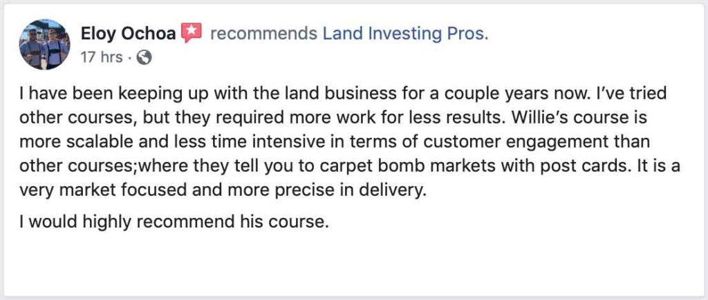 Eloy Ochoa's Facebook review